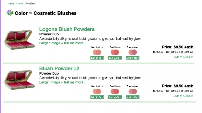 blush product list page