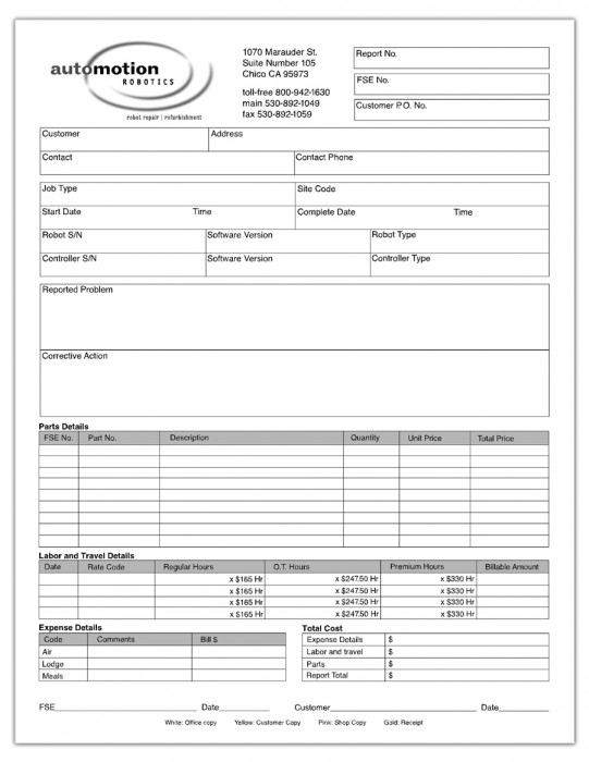 Automotion NCR Form
